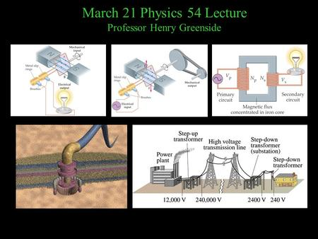 March 21 Physics 54 Lecture Professor Henry Greenside.