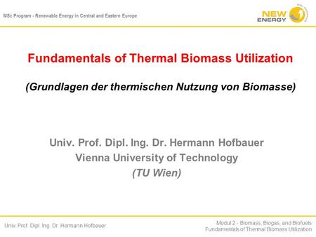MSc Program - Renewable Energy in Central and Eastern Europe Univ. Prof. Dipl. Ing. Dr. Hermann Hofbauer Modul 2 - Biomass, Biogas, and Biofuels Fundamentals.