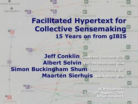 1 Facilitated Hypertext for Collective Sensemaking 15 Years on from gIBIS CogNexus Institute, USA Verizon eBusiness, USA Open University, UK NASA Ames,