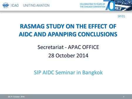 28-31 October 20141 RASMAG STUDY ON THE EFFECT OF AIDC AND APANPIRG CONCLUSIONS Secretariat - APAC OFFICE 28 October 2014 SIP AIDC Seminar in Bangkok SP/01.