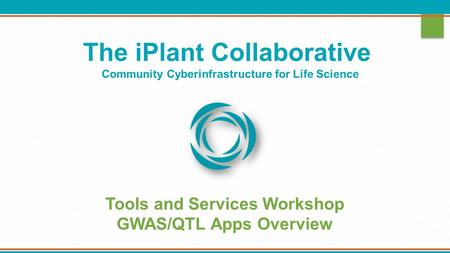 The iPlant Collaborative Community Cyberinfrastructure for Life Science Tools and Services Workshop GWAS/QTL Apps Overview.