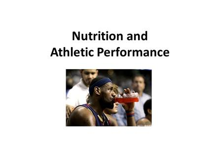 Nutrition and Athletic Performance. Optimum Nutrition High in carbohydrate (55-65% of diet) Low in fat (25-30% of diet) Variety of foods 5-12 servings.