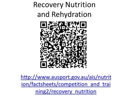 Recovery Nutrition and Rehydration  ion/factsheets/competition_and_trai ning2/recovery_nutrition.