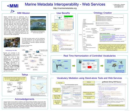 Marine Metadata Interoperability - Web Services Marine scientists face an opportunity and a challenge in the volume of data available from various ocean.