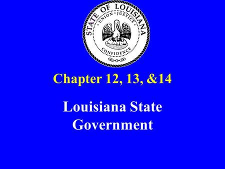 Chapter 12, 13, &14 Louisiana State Government. Foundations for Louisiana State Government 1812 Louisiana becomes a state & forms it's own constitution.