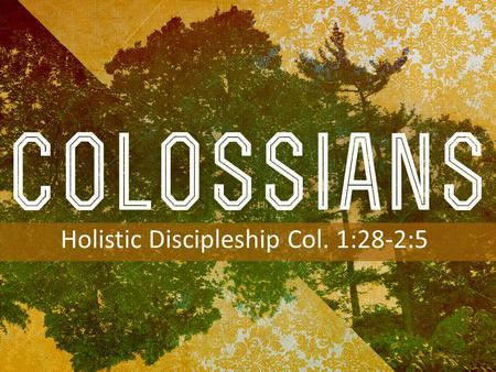 INTRODUCTION TO COLOSSIANS Holistic Discipleship Col. 1:28-2:5.