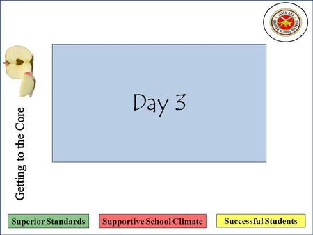 Successful Students Superior StandardsSupportive School Climate Day 3.