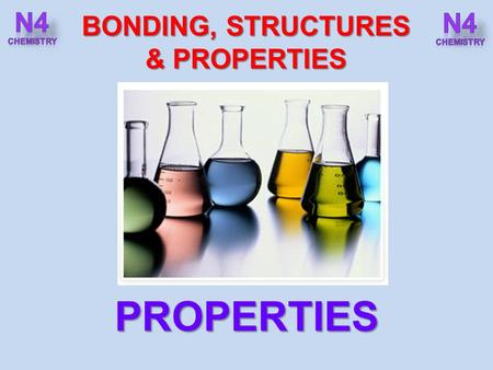 BONDING, STRUCTURES & PROPERTIES PROPERTIES. After completing this topic you should be able to : BONDING, STRUCTURE & PROPERTIES PROPERTIES Carry out.