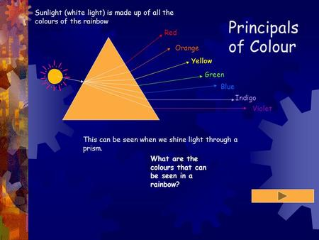 Principals of Colour Red Orange Yellow Green Blue Indigo Violet Sunlight (white light) is made up of all the colours of the rainbow This can be seen when.
