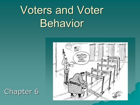 Voters and Voter Behavior Chapter 6. History of Voting Rights  The Framers purposefully left the power of voting to the States  Suffrage and Franchise.