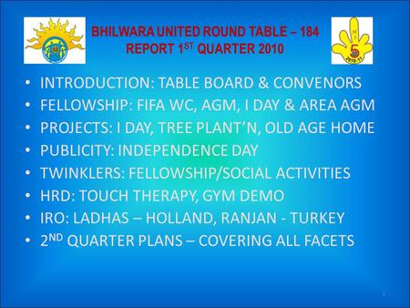 INTRODUCTION: TABLE BOARD & CONVENORS FELLOWSHIP: FIFA WC, AGM, I DAY & AREA AGM PROJECTS: I DAY, TREE PLANT'N, OLD AGE HOME PUBLICITY: INDEPENDENCE DAY.