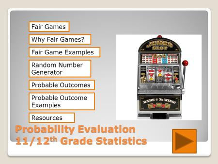 Probability Evaluation 11/12 th Grade Statistics Fair Games Random Number Generator Probable Outcomes Resources Why Fair Games? Probable Outcome Examples.