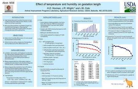 Effect of temperature and humidity on gestation length H.D. Norman, J.R. Wright,* and J.B. Cole Animal Improvement Programs Laboratory, Agricultural Research.
