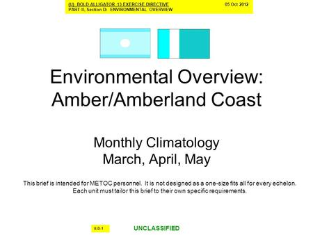Environmental Overview: Amber/Amberland Coast Monthly Climatology March, April, May This brief is intended for METOC personnel. It is not designed as a.