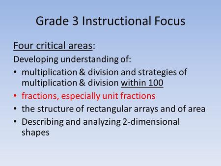 Grade 3 Instructional Focus Four critical areas: Developing understanding of: multiplication & division and strategies of multiplication & division within.