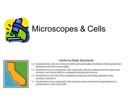 Microscopes & Cells California State Standards: 1.a Students know cells are enclosed within semi-permeable membranes that regulate their interaction with.