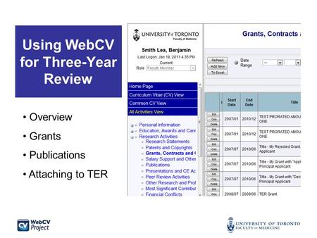 Using WebCV for Three-Year Review Overview Grants Publications Attaching to TER.