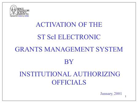 1 ACTIVATION OF THE ST ScI ELECTRONIC GRANTS MANAGEMENT SYSTEM BY INSTITUTIONAL AUTHORIZING OFFICIALS January, 2001.