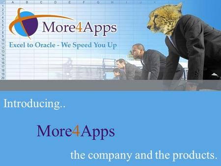 Introducing More4Apps Introducing.. More4Apps the company and the products.