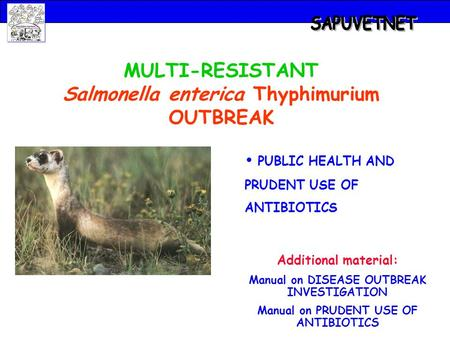 MULTI-RESISTANT Salmonella enterica Thyphimurium OUTBREAK PUBLIC HEALTH AND PRUDENT USE OF ANTIBIOTICS Additional material: Manual on DISEASE OUTBREAK.