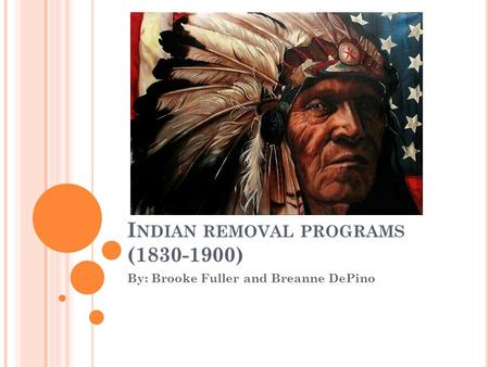 I NDIAN REMOVAL PROGRAMS (1830-1900) By: Brooke Fuller and Breanne DePino.
