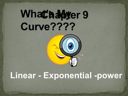 Linear - Exponential -power.  FOR EVERY QUESTION YOU GET CORRECT YOU WILL RECEIVE ONE LETTER.  THERE ARE 15 QUESTIONS TOTAL  ONCE THEY ARE ALL DONE.