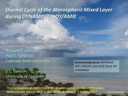Diurnal Cycle of the Atmospheric Mixed Layer during DYNAMO/CINDY/AMIE Kaustav Chakravarty Richard H. Johnson Paul E. Ciesielski Colorado State University.