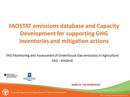FAOSTAT emissions database and Capacity Development for supporting GHG inventories and mitigation actions NAME OF THE WORKSHOP FAO Monitoring and Assessment.