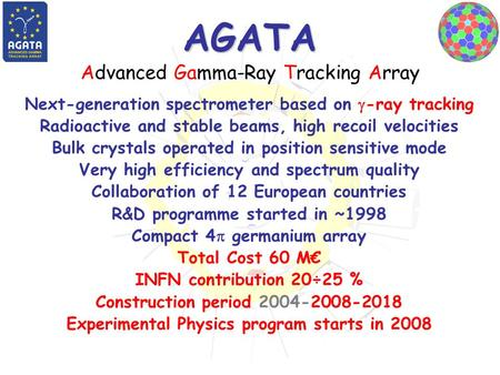 AGATA AGATA Advanced Gamma-Ray Tracking Array Next-generation spectrometer based on  -ray tracking Radioactive and stable beams, high recoil velocities.