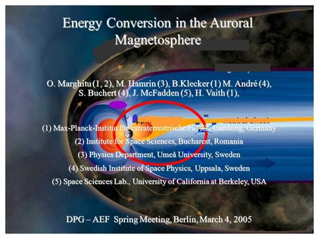 Energy Conversion in the Auroral Magnetosphere O. Marghitu (1, 2), M. Hamrin (3), B.Klecker (1) M. André (4), S. Buchert (4), J. McFadden (5), H. Vaith.