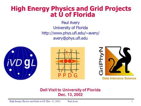 High Energy Physics and Grids at UF (Dec. 13, 2002)Paul Avery1 University of Florida  High Energy Physics.