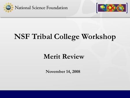 Merit Review NSF Tribal College Workshop November 14, 2008.