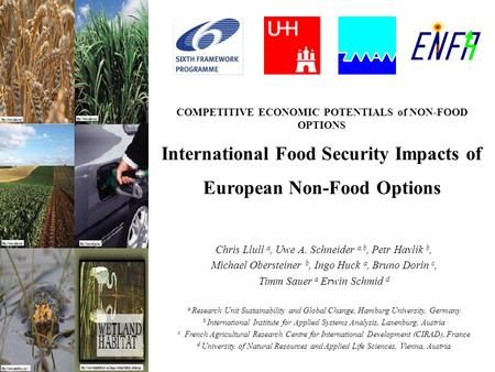 COMPETITIVE ECONOMIC POTENTIALS of NON-FOOD OPTIONS International Food Security Impacts of European Non-Food Options Chris Llull a, Uwe A. Schneider a,b,