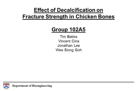 Department of Bioengineering Effect of Decalcification on Fracture Strength in Chicken Bones Group 102A5 Tim Bakke Vincent Cina Jonathan Lee Wee Siong.