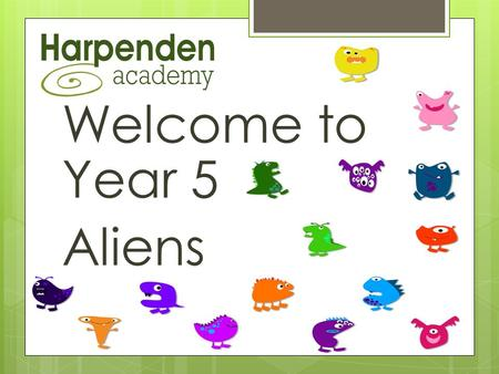 Welcome to Year 5 Aliens. Our Team  Jojo (Class Teacher)  Billie AT Monday to Friday  Tommy AT Monday to Friday  Catz – Teaching Science  Monday.