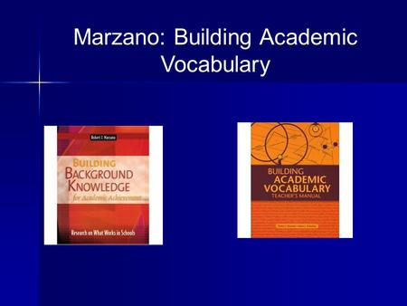 Marzano: Building Academic Vocabulary. Six Step Process 1.Provide a description, explanation or example 2.Students restate the description, explanation.