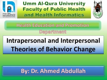 Intrapersonal and Interpersonal Theories of Behavior Change