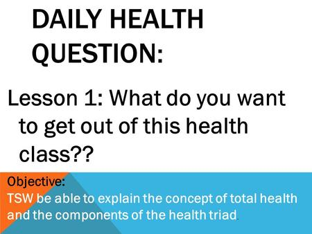 Daily Health Question: