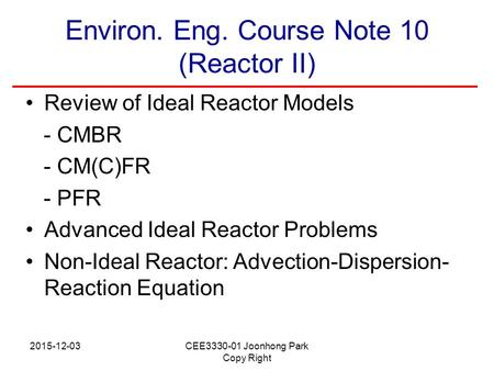 Environ. Eng. Course Note 10 (Reactor II)