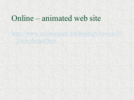 Online – animated web site  5Storyboard.htm.
