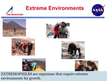 Extreme Environments EXTREMOPHILES are organisms that require extreme environments for growth.