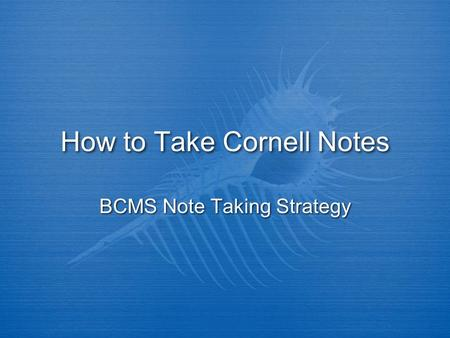 How to Take Cornell Notes BCMS Note Taking Strategy.