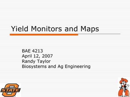 Yield Monitors and Maps