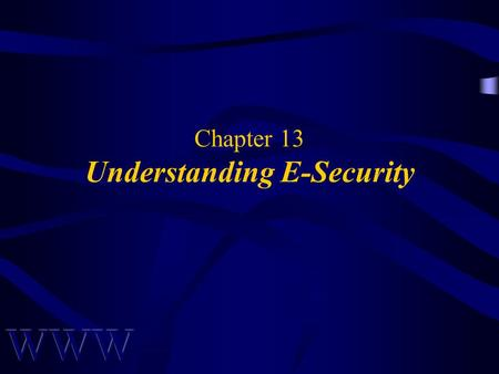 Chapter 13 Understanding E-Security. Awad –Electronic Commerce 2/e © 2004 Pearson Prentice Hall 2 OBJECTIVES Security in Cyberspace Conceptualizing Security.