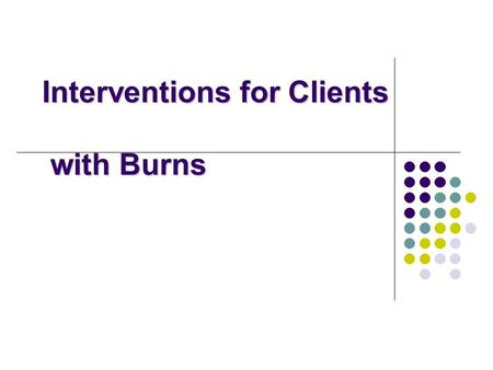 Interventions for Clients with Burns. Burn Injury 10,000 deaths/year More common in men Death rates high in kids and older adults Most deaths happen in.