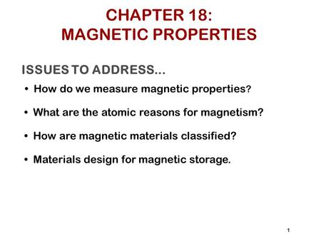 CHAPTER 18: MAGNETIC PROPERTIES