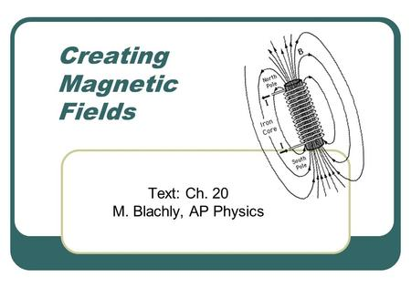 Creating Magnetic Fields Text: Ch. 20 M. Blachly, AP Physics.