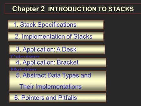 Chapter 2 INTRODUCTION TO STACKS 1. Stack Specifications 2. Implementation of Stacks 3. Application: A Desk Calculator 4. Application: Bracket Matching.