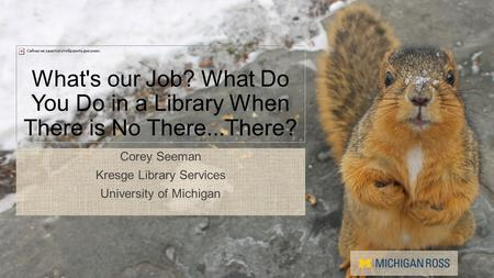 What's our Job? What Do You Do in a Library When There is No There...There? Corey Seeman Kresge Library Services University of Michigan.