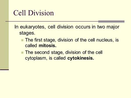 In eukaryotes, cell division occurs in two major stages. The first stage, division of the cell nucleus, is called mitosis. The second stage, division of.